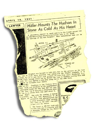 1941 newspaper article about the 'Hitler Face' in the Palisades